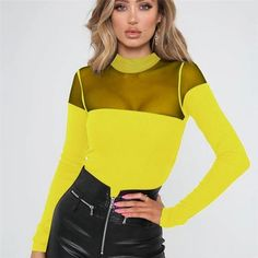 Hot sexy women bodysuits rompers Fashion clubwear slim Mesh patchwork – rricdress Bodysuit Fashion, Womens Bodysuit, Black Bodysuit, Long Jumpsuits, Playsuits, Body Suit Outfits, Street Chic, Clubwear, Long Sleeve Tops