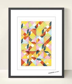 Geometric Art Tangram. Abstract Poster Print A3, Mid Century Modern, Scandinavian design inspired, Good Mood Home & Office Decor. Wall Decor. $18.50, via Etsy.