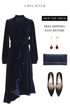Adore this Midnight Blue Asymmetric Wrap Velvet Dress. Perfect for Christmas Day? Look Fashion, Unique Fashion, Girl Fashion, Winter Fashion, Womens Fashion, Fashion Design, Fashion 2020, Classy Outfits, Chic Outfits