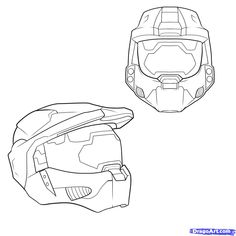How to Draw a Halo Helmet, Step by Step, Video Game Characters ...