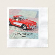 retirement-red corvette sports car on road map paper napkin - retro gifts style cyo diy special idea