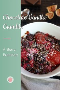 Berry Chocolate Vanilla Crumble 🍓 I had this for breakfast this morning and it was so delicious 🤤 Probably one of my favorite meals for breakfast besides porridge 🥣 Perfect for cold and rainy days like today ☔ Find the recipe on my blog! #crumble #chocolatecrumble Sugar Free Recipes Healthy, Healthy Breakfast Recipes, Healthy Desserts, Vegan Recipes, Recipe Maker, Clean Eating Diet, Berries, Favorite Recipes, Meals