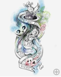Tattoo Ideas Disney Alice In Wonderland Super Ideas Cat tattoo – Top Fashion Tattoos Alice In Wonderland Drawings, Alice And Wonderland Quotes, Alice In Wonderland Tattoo Sleeve, Wonderland Party, Body Art Tattoos, Sleeve Tattoos, Cool Tattoos, Mini Tattoos, Finger Tattoos