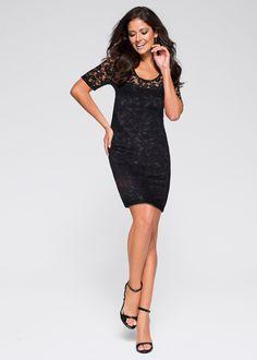 Jurk zwart - BODYFLIRT nu in de onlineshop van bonprix.nl vanaf ? 30.99 bestellen. Chic en vrouwelijk! Deze shirtjurk is geheel versierd met fijne kant en ...