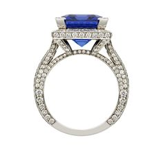 PARISIAN RING Parisian Ring  Platinum ring set with a fine 9.10ct emerald cut tanzanite and micro set with 2cts of white diamonds.
