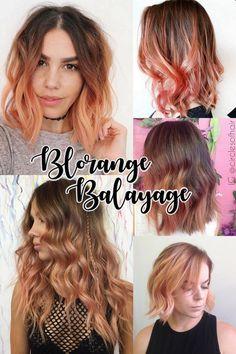 Blorange hair tendência para cabelos coloridos 2017 cor de cabelo loiro e laranja ruivo nude peach hair color trend balayage