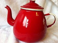Enamelware-Vintage-French-Style-Red-White-Teapot-Emalia-Olkusz-Poland