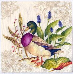 paper napkins Napkin decoupage with this classic print of wild ducks, printed in Germany on paper. These are perfect for paper arts and crafts of many kinds,including collage and d Decoupage Glass, Paper Napkins For Decoupage, Decoupage Vintage, Lotus Painting, Artist Painting, Painting On Wood, Wood Paintings, Indian Art Paintings, Botanical Illustration