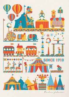 Circus Print by Caroline: What kid wouldn't love this on the wall? #Circus_Print #Caroline:
