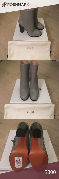 Celine boots NWT ⚡️SALE⚡️NWT these 100% authentic Celine boots are gorgeous! They will sell fast or end up on my own feet-and are a steal! They are flawless and absolutely gorgeous. No need to shove your jeans in your boots my skinny jeans fit smoothly in them. The color is a Grey with a hint of Sage. So beautiful! They have only been tried on, on carpet. Never been worn! They are a great deal! Celine Shoes Ankle Boots & Booties