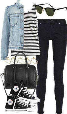 outfit for school by im-emma featuring rayban glasses, denim shirt, stripes and jeans
