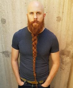 Long Braided Beard Styles - Best Braided Beard Styles For Men: How To Braid Your Beard #beard #beards #beardstyles #beardgang #beardedmen #facialhair #mensfashion #mensstyle #men Crazy Beard, Bald With Beard, Beard Fade, Red Beard, Beard Look, Epic Beard, Beard Styles Names, Viking Beard Styles, Beard Styles For Men