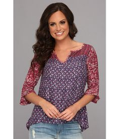 Lucky Brand Hermosa Mix Print Peasant - looks comfortable to wear with jeans