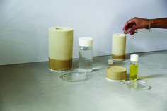 Three wellness products made from marl. Oil lamps designed, collaboration