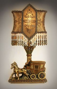 Golden Antique table lamp with victorian lamp shade
