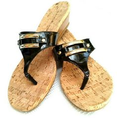BANDOLINO - SUMMER BLACK PATENT LEATHER SANDALS BANDOLINO CUTE SUMMER SANDALS Black Patent Leather with Gold Hardware Like New Worn once. Too Small Size 8 1/2 Bandolino Shoes Sandals