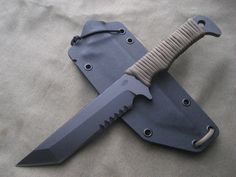 Miller Bros. Blades Customized M-7 with serrations. Custom Handmade Swords, Knives & Tomahawks/Axes http://www.millerbrosblades.com/
