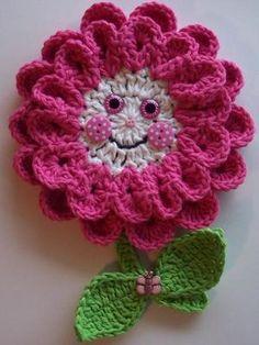 Crochet Pink Flower Potholder