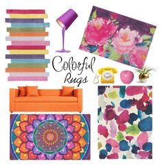 """""""Color Theory: Bright Rugs - Polyvore Contest"""" by helen5526 ❤ liked on Polyvore featuring interior, interiors, interior design, home, home decor, interior decorating, nuLOOM, Bluebellgray and Bitossi"""