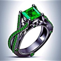 http://rubies.work/0286-sapphire-ring/ Black Gold or Sterling Silver Slytherin Inspired Princess Cut Emerald Engagement Ring https://www.etsy.com/listing/237964382/black-gold-or-sterling-silver-slytherin