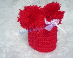On Sale! Baby Infant Boy Girl Red Hat Crochet Knitted Outfit Halloween Christmas Costumes Photo Photography Prop EL166