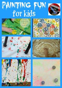 Painting with Rocks (Fantastic Fun and Learning)  Craft Pom Pom Stamping & Painting (Craft to Art)  Boing Painting (Making Boys Men)  Free Panting with Toddlers (Two of Everything)  Chocolate Pudding Painting (An Idea on Tuesday)  Marbled Creations (School Time Snippets)