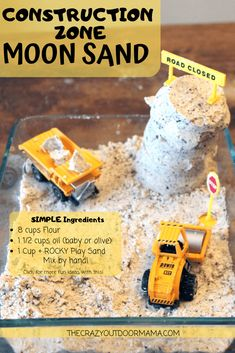 Make this fun textured moon sand with just two main ingredients and a textured one! Kids will love playing with their trucks and animals with this moon sand! Rainy Day Activities For Kids, Quiet Time Activities, Indoor Activities For Toddlers, Sensory Activities, Infant Activities, Classroom Activities, Homemade Moon Sand, Boredom Busters For Kids, Toddler Learning