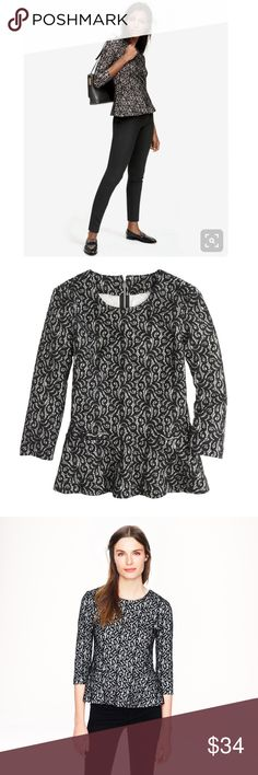 """j.crew • black lace peplum top with exposed zipper Such a pretty, perfect career top! Great condition. UA  to UA 18.5"""", length 23"""". In a custom-developed fabric (cotton lace outside and smooth jersey inside), it's stretchy and soft but still has the structure of a peplum top.  Poly/cotton/viscose/nylon. Hand wash. Import. Item 07962. J. Crew Tops"""