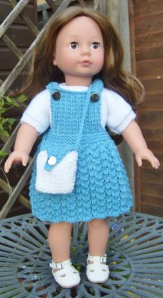 Ravelry: AMERICAN GIRL DOLL PRACTICAL PINAFORE SET pattern by Jacqueline Gibb