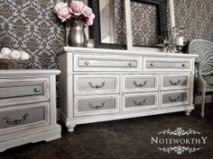 Hollywood Regency, White and Silver Metallic Buffet, Dresser, Changing Table, Nursery, Dining Room, Bedroom, Entry Table, Custom, Glamorous Painted Furniture, Noteworthy Home