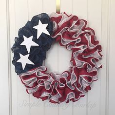 Rustic American burlap wreath, red white blue burlap wreath, patriotic wreath, Military wreath, fourth of July wreath, Veteran's Day wreath by SimpleCountryBurlap on Etsy https://www.etsy.com/listing/280357106/rustic-american-burlap-wreath-red-white