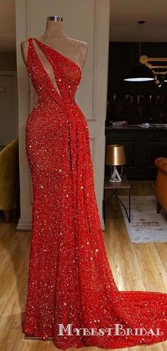 Sequin prom dresses - One Shoulder Red Sexy Sparkle Long Prom Dresses – Sequin prom dresses Sequin Prom Dresses, Event Dresses, Sexy Dresses, Dresses For Work, Formal Dresses, Summer Dresses, Wedding Dresses, Sexy Gown, Mermaid Dresses
