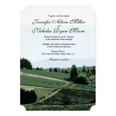 Greenery Wedding Invitations Vineyard Landscape Winery Wedding Invitation