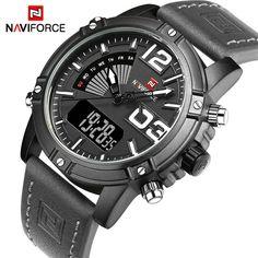 Men Watches Luxury Sport Quartz Digital Watch Men's Waterproof Wristwatches Man Leather Clock Relogio Masculino - Black Gray What a beautiful image Visit our store