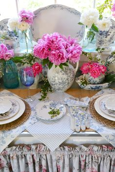 Peonies, Roses and Blue & White Transferware table vignette in the Potting Shed | ©homeiswheretheboatis.net #peonies #spring #sheshed #tablesetting #blueandwhite