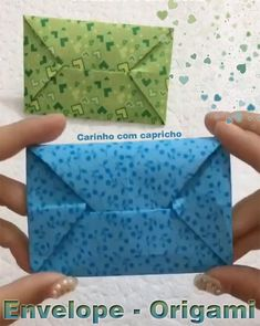 Muito fácil! Diy Crafts To Do, Paper Flowers Craft, Paper Crafts For Kids, Creative Crafts, Instruções Origami, Origami Envelope, Paper Crafts Origami, Origami Tutorial, Ideas