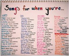 Weddings Discover Songs for when you& feeling a specific emotion playlist bullet journal Mood Songs Music Mood Upbeat Songs Good Vibe Songs What To Do When Bored Things To Do When Bored For Teens Song Suggestions Song Playlist Summer Playlist Music Mood, Mood Songs, Upbeat Songs, What To Do When Bored, Things To Do When Bored For Teens, Things To Do With Your Boyfriend, Things To Do At A Sleepover, Songs For Boyfriend, Boyfriend Quotes