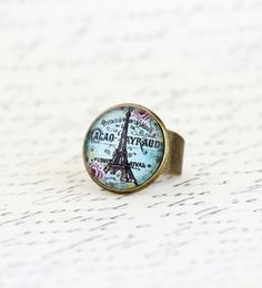 Statement Ring Eiffel Tower - Paris Jewelry,  City of Paris,Gift For Traveler, Gift For Woman, Mothers Day Gift