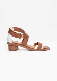 Classic leather sandals with a short stacked heel polished to a lovely raw finish and contrasting heel counter.
