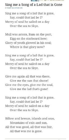 """The Skye Boat Song"" is a Scottish folk song, which can be played as a waltz, recalling the escape of Prince Charles Edward Stuart (Bonnie Prince Charlie) from Uist to the Isle of Skye after his defeat at the Battle of Culloden in 1746 Outlander Quotes, Outlander Book Series, Outlander Tv Series, The Skye Boat Song, Bonnie Prince Charlie, Outlander Season 1, Love Songs Lyrics, Diana Gabaldon, Film"