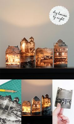 DIY photographic votive lights. These are fab. I would love to try some with some of my fav. vacation desinations to remind me of my great memories. They light up so beautifully and would look great on a windowsill or overhang. Click the link on how to.