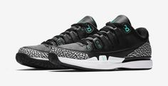 The Nike Zoom Vapor Roger Federer x Air Jordan 3 'Clear Jade' will release in October.