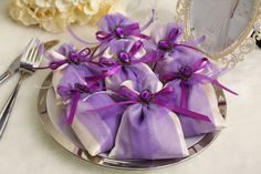 Satin wedding favor bags, five colors optional.
