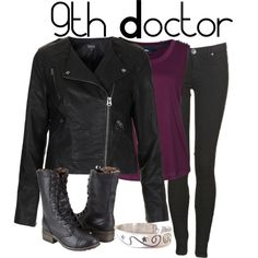 """""""The 9th Doctor"""" by nerdgirl2therescue on Polyvore.  LOVE.  Ugh.  SOMEDAY I will find a group of girls that will do fem Doctors with me for Halloween."""