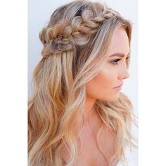15 Nice Holiday Half Up Hairstyles for Long Hair   LoveHairStyles.com ❤ liked on Polyvore featuring beauty products, haircare, hair styling tools, hair, hairstyle, hair styles, people and photo