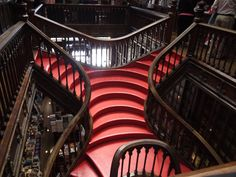 "The World's Most Beautiful Staircase is in Portugal - via Core77 02.03.2015 | Inside what may be the prettiest bookstore in the world is what has got to be one of the world's most beautiful staircases. The bookstore's name is Livraria Lello, ""Lello Bookstore"" in Portugese, and it's located in Porto, Portugal's second-largest city."