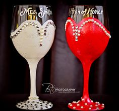 Wedding Glasses hand painted by Beyond the Cork/ BTC Photography Wedding Wine Glasses, Diy Wine Glasses, Decorated Wine Glasses, Hand Painted Wine Glasses, Glitter Glasses, Champagne Glasses, Wine Glass Crafts, Wine Craft, Wine Bottle Crafts