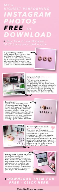 Looking for some awesome free stock photos for your Instagram and social media account? How about my 5 highest converting Instagram photos to download for free? Including my popular doughnut photos and my pink office desk flat lays. My images aren't just pretty, they actually convert into sales and subscribers on my email list and have my audience clicking through to my website and blog.
