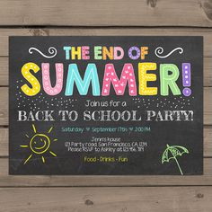 Back To School Party Invitation End of Summer by Anietillustration