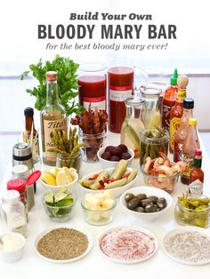 Build Your Own Bloody Mary Bar – Perfect for brunch and entertaining // via Foodie Crush Best Bloody Mary Recipe, Bloody Mary Recipes, Bloody Mary Salt Rim Recipe, Bloody Mary Bar, Birthday Brunch, Easter Brunch, Bar Drinks, Yummy Drinks, Beverages